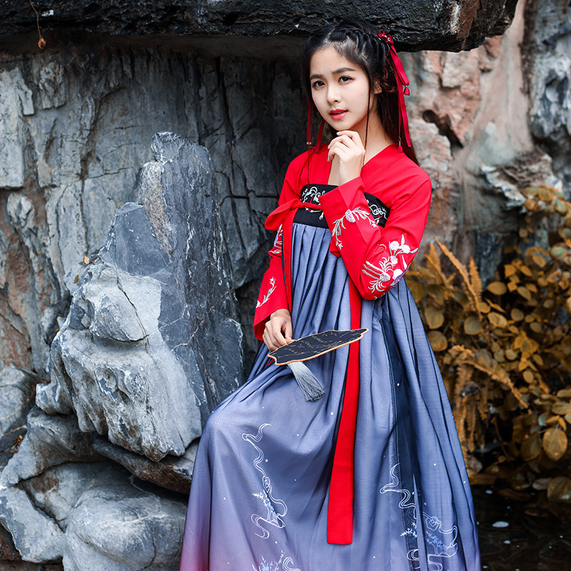 Ancient Costume Hanfu Woman Adult Chest-length Skirt Night Lily Exceed Immortal Elegant Study Often Fund Improvement China Wind