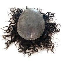 Base de piel fina para hombres, tupé, cabello humano ondulado, textura rizada, remy