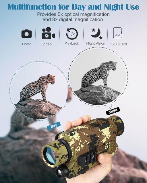 Night Vision Device Monoculars 300 Yards Digital IR Telescope Scope 5x32 Optics Photos Video Recording Camouflage Hunting Camera 2