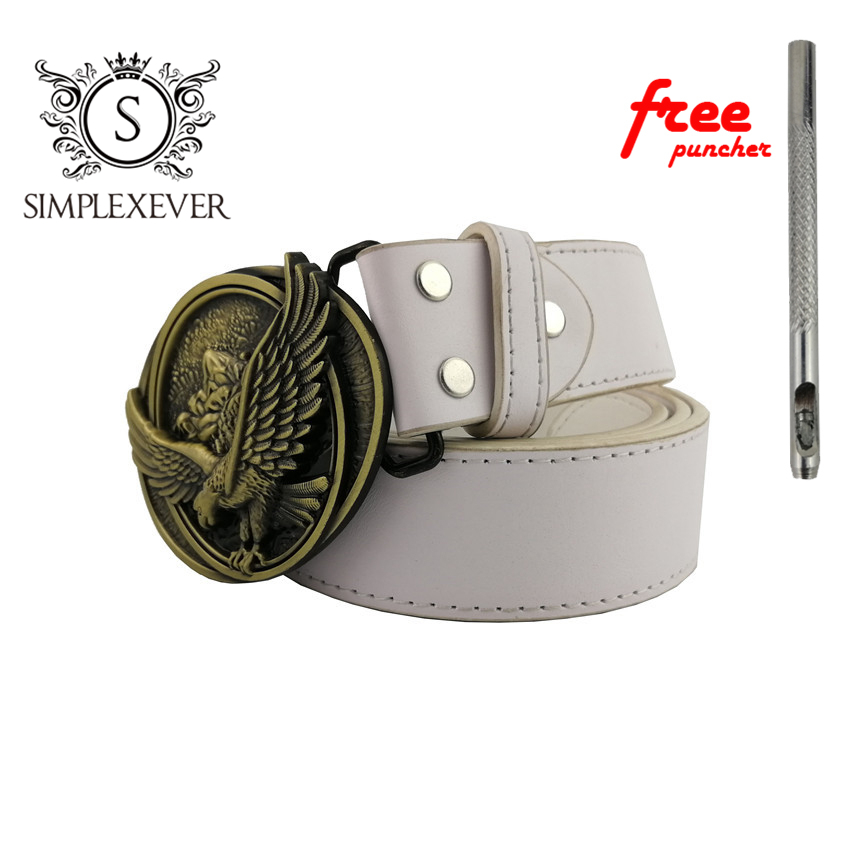 Cool 3D Oval Brass Eagle Belt Buckle With Metal Cowboy Leather Belt Accessories Fit 4cm Width Belt