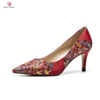 Original Intention Women Wedding Pumps Shallow Pointed Toe Thin High Heels Red Silk Embroidered Pumps Shoes Woman Gorgeous