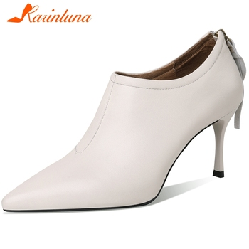 KARINLUNA New Ladies High Thin Heels Pumps Mature Office Fashion Pumps Women Spring Pointed Toe Genuine Leather Shoes Woman
