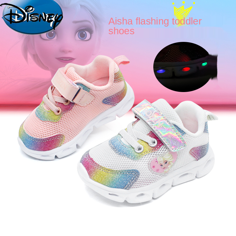 Disney Baby Shoes Elsa Princess Shoes Frozen Children's Shoes Spring Soft Bottom Flashing Light Function Toddler Shoes  TF20103