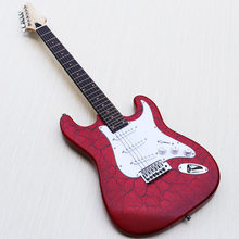 burst crack metalic red ST electric guitar, Rosewood fretboard, good quality hardwares, white pickguard, factory special offer(China)