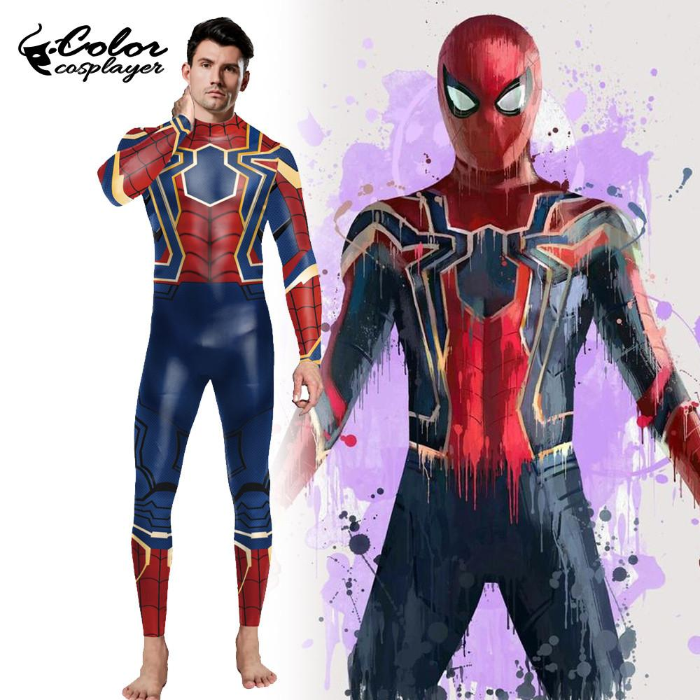 Color Cosplayer Movie Spider Costume For Man Cosplay Clothing Fantasy Spider Bodysuit Purim Carnival Adult Onesies
