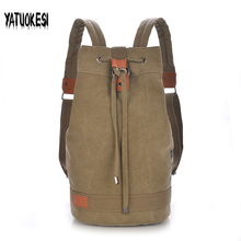 YATUOKESI  Unisex Canvas Backpack  Bucket Drawstring Backpacks  Casual Laptop School Bags For Teenagers Travel Backpack Mochila backpack women and men canvas casual bags school student backpacks for teenagers girls bays mochila solid women laptop backpack page 1