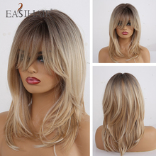 EASIHAIR Medium Length Wavy Synthetic Wigs for Black Women Ombre Brown Blonde Wigs With Bangs Heat Resistant Cosplay Wigs Natura