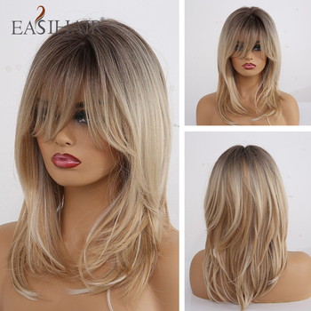 EASIHAIR Medium Length Wavy Synthetic Wigs for Black Women Ombre Brown Blonde With Bangs Heat Resistant Cosplay Natura - discount item  42% OFF Synthetic Hair