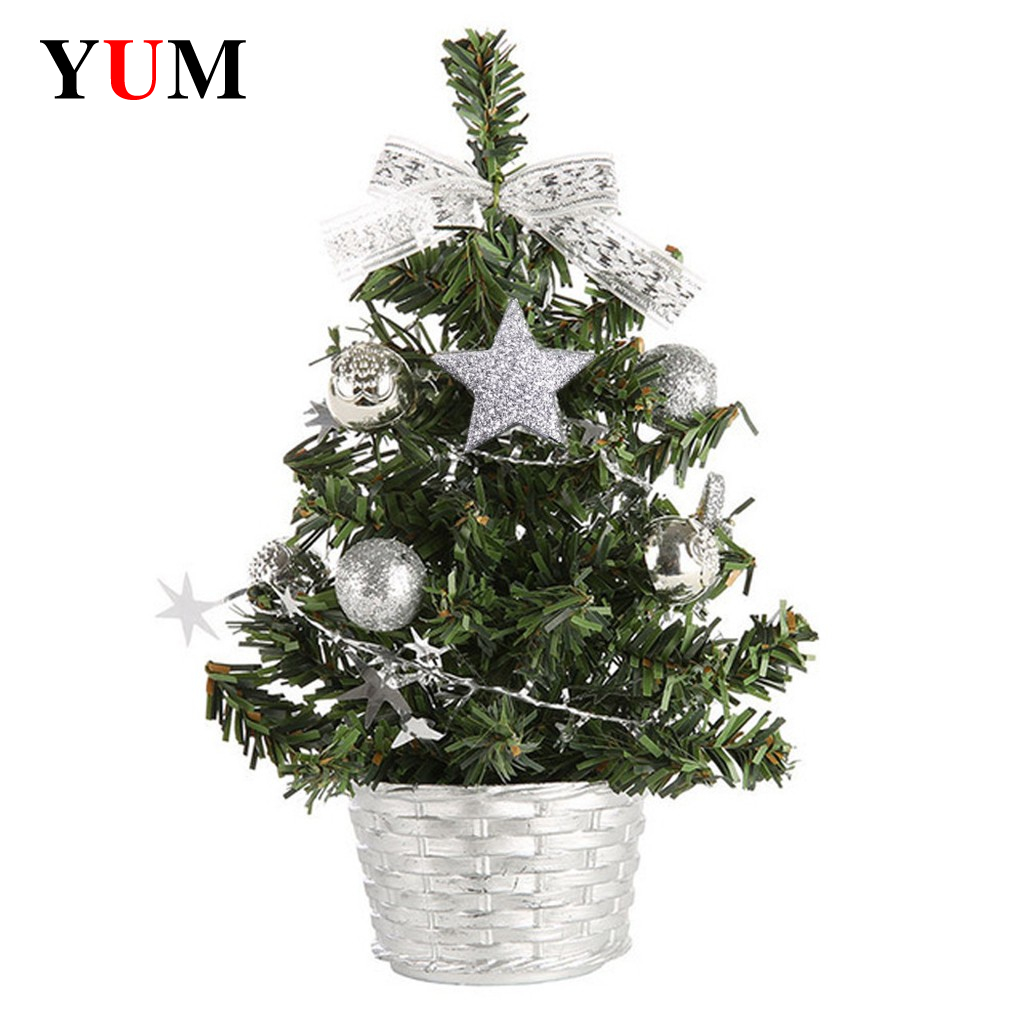 Diy Christmas Tree 20 Cm Small Pine Tree Mini Trees Placed In The Desktop Home Decor Christmas Decoration Kids Gifts
