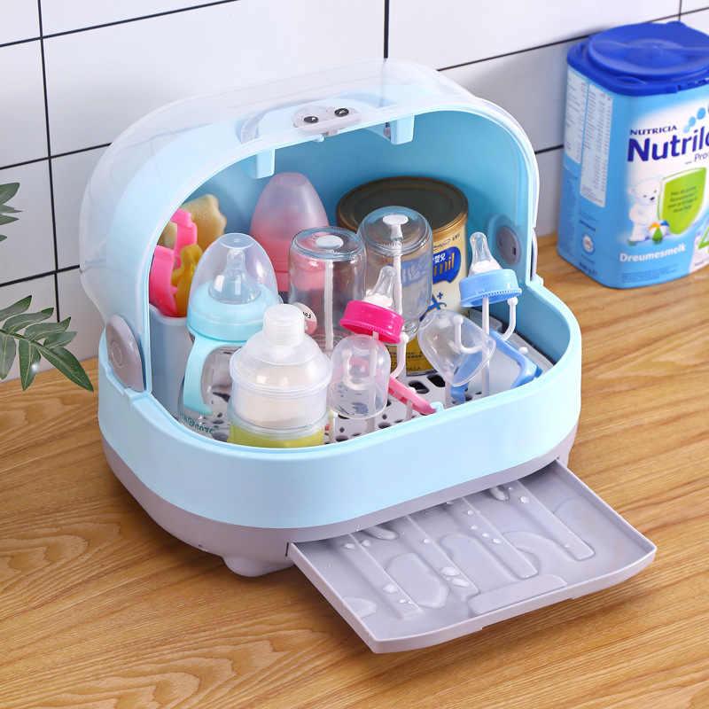 portable baby bottle rack storage box organizer dust proof drying shelf box baby milk feeding bottle dryer box baby accessory