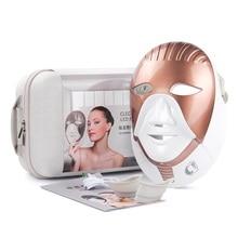 LED Maschera di Bellezza Dispositivo Ricaricabile 7 Colori Led Maschera Con Collo Cura Della Pelle Rughe Acne Rimozione di Ringiovanimento Della Pelle Viso Cura strumento