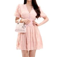 CINESSD Sexy Beach Pink Dress 2019 Women Summer V neck Hubble bubble Puff Sleeve Waist Mini Party Dresses Vestidos Plus Size