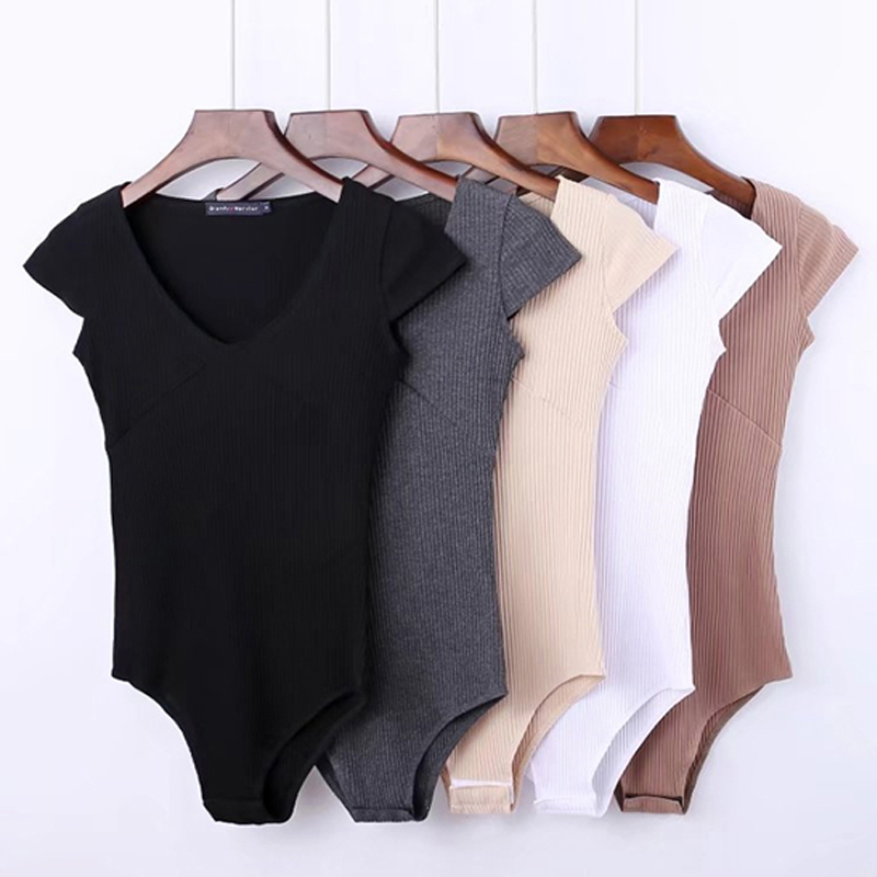 Summer Jumpsuit Romper Bodysuit Women Sexy Bodysuit Female Overalls Short Sleeve Playsuit Coveralls Sexy Backless Playsuit