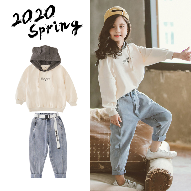 Fashion Girls Fall Outfits Hooded Sweatshirt & Jeans 2pcs Sets Child Boutique Clothing  10 12 Year Teen Clothes set Spring 2020 5