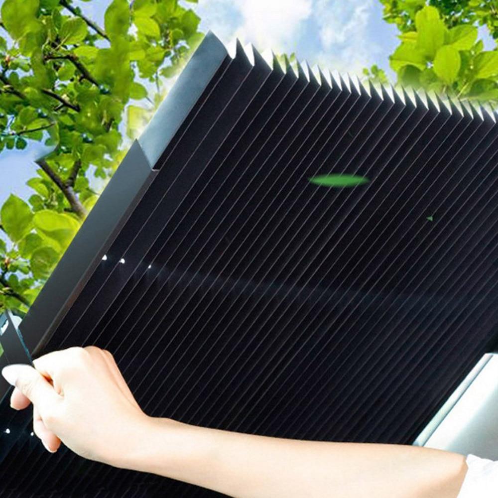 Car Retractable Windshield Sun Shade Block Sunshade Cover Front Rear Window Foil Curtain for Solar UV Protect Sun Visor