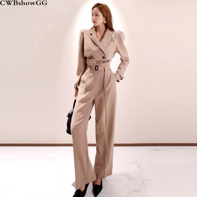 Nouveau deux-pièces ensemble 2019 automne et hiver Vintage col cranté double boutonnage chemise + mode taille haute pantalon deux-pièces ensemble