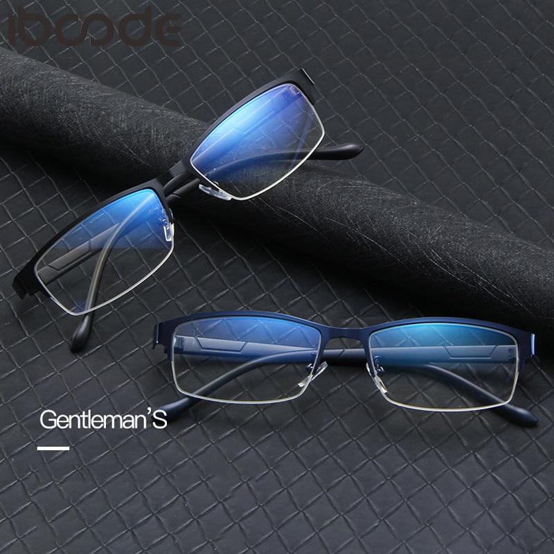 Iboode Half Frame Blocking Anti Blue Light Glasses Frame Women Men Metal Square Computer Optical Spectacle Eyeglasses Unisex New
