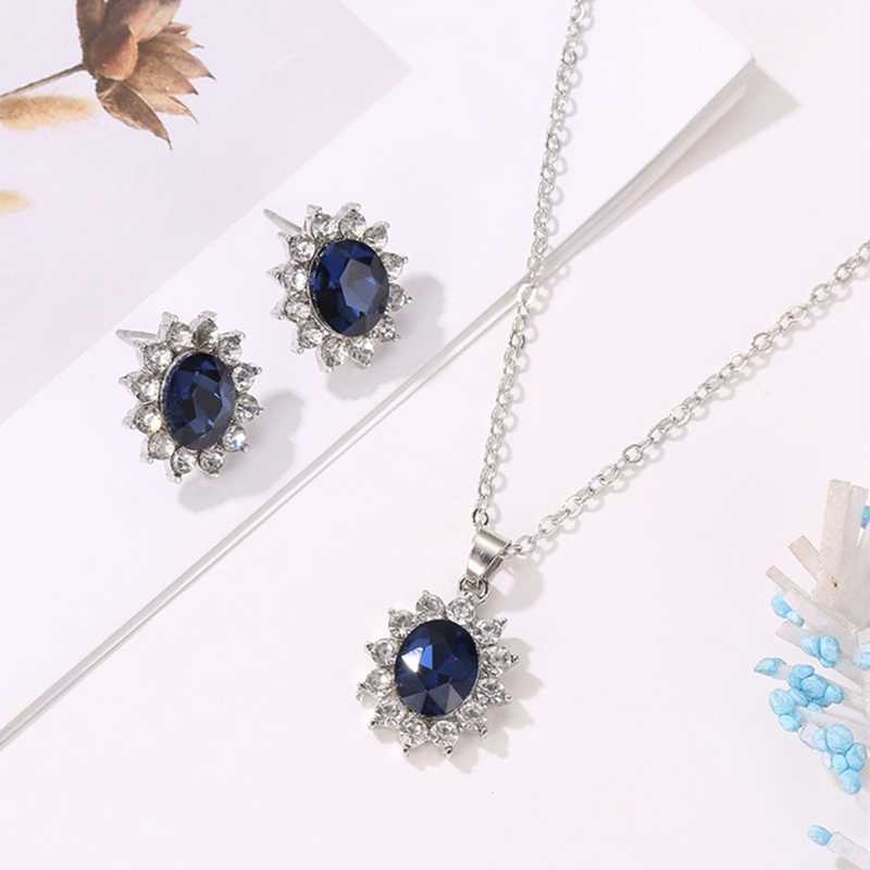 Mode Silber Farbe Halskette Ohrringe Schmuck Sets Für Frauen Funkelnde Blaue Cubic Zirkon Sunflower Party Mode Kostüm