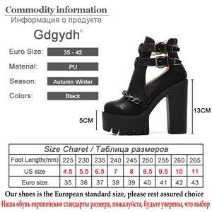 Image 5 - Женские ботильоны на платформе и толстом каблуке Gdgydh, черные повседневные ботильоны с вырезами, пряжкой и круглым носком, на высоком каблуке, с цепочкой, на весну/осень,