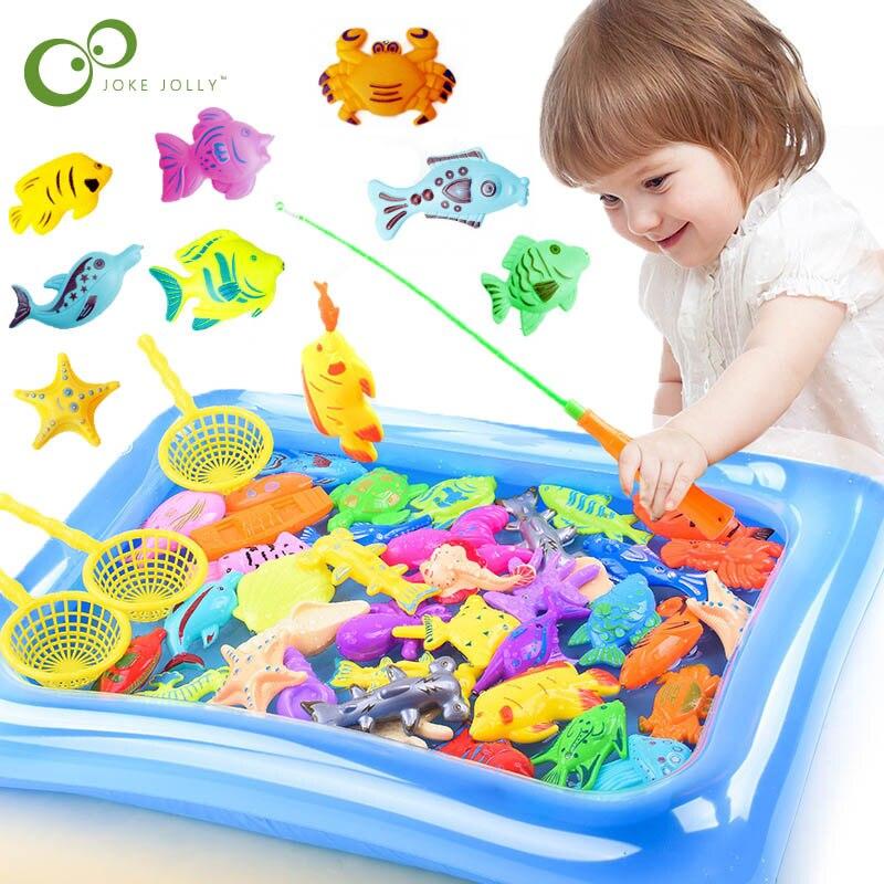 ילדי ילד ילדה דיג צעצועי סט מגנטי דיג הורה לילד אינטראקטיבי משחק 3D דגי מוט נטו תינוק לשחק מים אמבטיה צעצועי ZXH