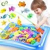 Dzieci chłopiec dziewczyna zabawki wędkarskie zestaw magnetyczne wędkowanie rodzic-dziecko interaktywna gra 3D wędka na ryby netto dziecko zagraj w wodę zabawki do kąpieli YJN