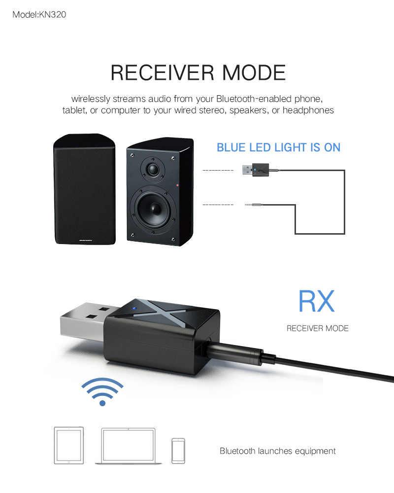 VIKEFON Bluetooth 5.0 Audio-ontvanger Zender Mini Stereo Bluetooth AUX RCA USB 3.5mm Jack Voor TV PC Auto Kit draadloze Adapter