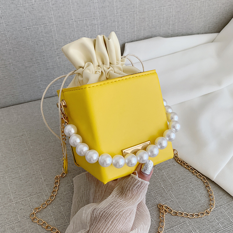 Small Ladies Handbags Pearl Chain Top-Handle Bucket Bag Leather Candy Color Purse Branded Crossbody Shoulder Bag for Women Sale