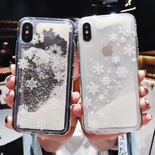 Lovely Christmas Case For iPhone X Xr Xs Max Soft TPU Quicksand iPhone7 8 6 6S Plus Cover New Year