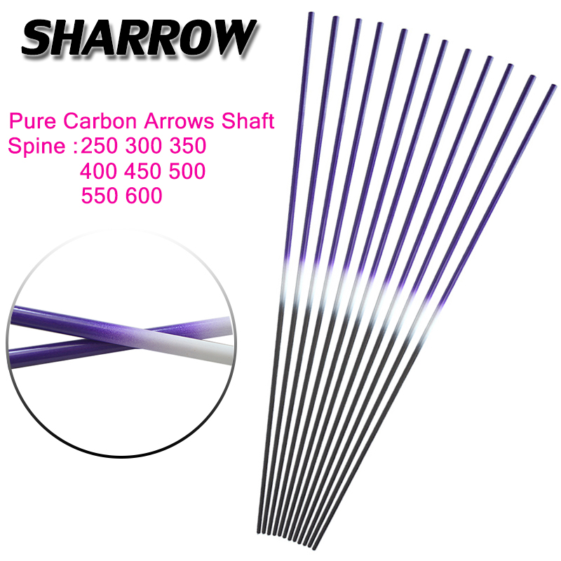 <font><b>6</b></font>/12pcs Archery Pure Carbon Arrows Shaft 30inch ID <font><b>6</b></font>.2mm 250/300/350/<font><b>400</b></font>/450/500/550 Spine DIY Hunting Bow And Arrow Accessories image