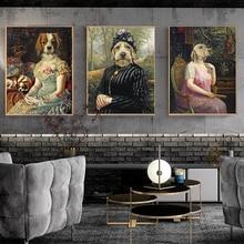 WANGART винтажный художественный плакат собака животное ретро ностальгия леди картина маслом печать настенное изображение на холсте гостиная домашний декор