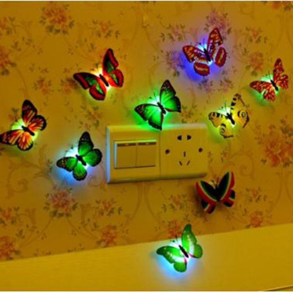 Creative Colorful LED Butterfly Night Light 3D Stereo Simulation Butterfly Wall Stickers Wall Decoration LED Night Light Lamp