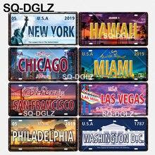 [SQ-DGLZ] estados unidos popular cidade placa de licença decoração da parede américa do norte estanho sinal de metal vintage pintura placas cartaz
