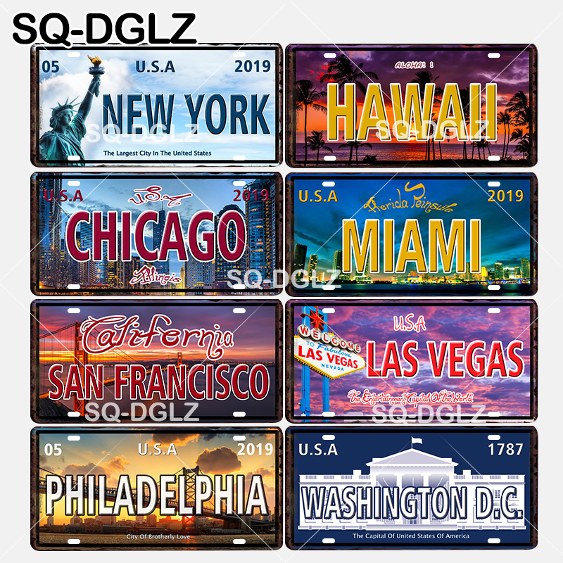 [SQ-DGLZ] United States Popular City License Plate Wall Decor North America Tin Sign Vintage Metal Sign Painting Plaques Poster image