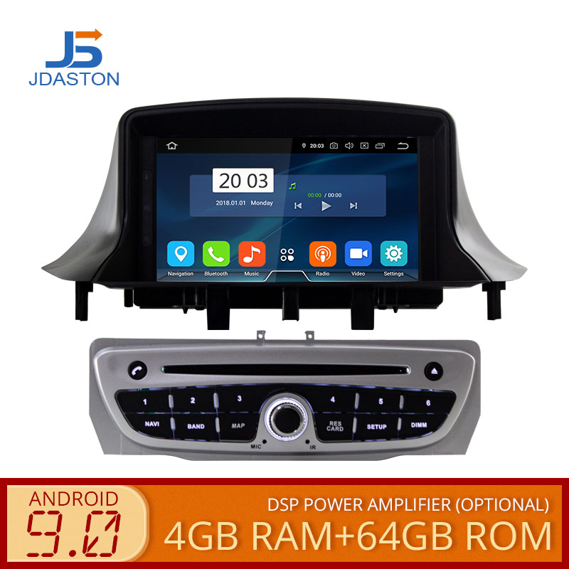 JDASTON Android 9.0 Car <font><b>DVD</b></font> Player For RENAULT <font><b>Megane</b></font> Fluence 3 2009-2013 Octa Cores 4G+64G Multimedia <font><b>GPS</b></font> Stereo WIFI Radio RDS image