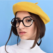 OUBR Fashion ladies pearl jewelry decorative goggles computer optical anti-blue round glasses high quality frame