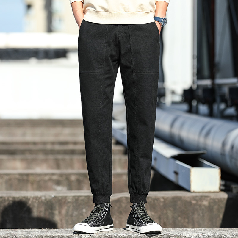 Autumn New Style Loose Straight Casual Pants MEN'S Black Men's Trousers Beam Leg Bib Overall Men's 39515