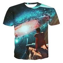 Новинка 2020 футболка с 3d принтом звездного неба Мужская модная