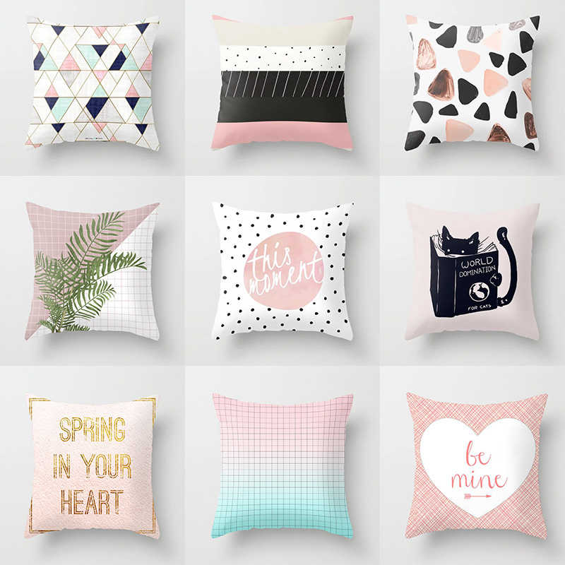 pillow cushion covers nordic pink geometric blue throw pillows polyester modern pillow covers decorative couch sofa pillow case