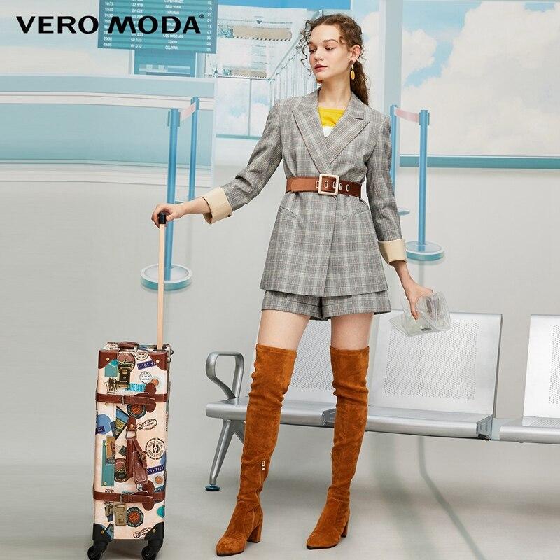 Vero Moda 2019 New Women's Lapel 3/4 Sleeves Plaid Suit Shorts Blazer | 319308588