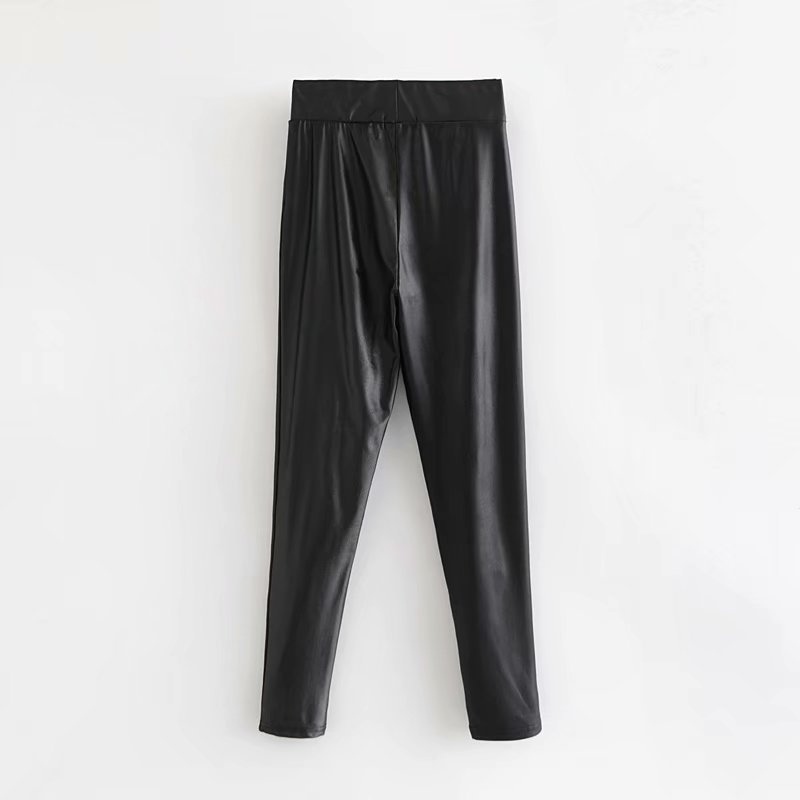 Western Style Autumn And Winter New Style WOMEN'S Dress High-waisted Waxing Leather Effect Leggings Women's Skinny Pants Casual
