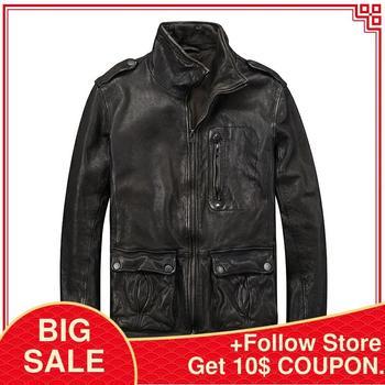 2020 Black Smart Casual Leather Jacket Men Double Pockets Genuine Sheepskin Spring Slim Fit Russian Style Coat