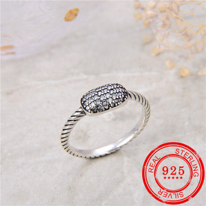 Image 5 - 100% Sterling Silver 925 Ring Inlaid Zircon Retro Silver Open Ring Lady Wedding Gift Fashion Jewelry