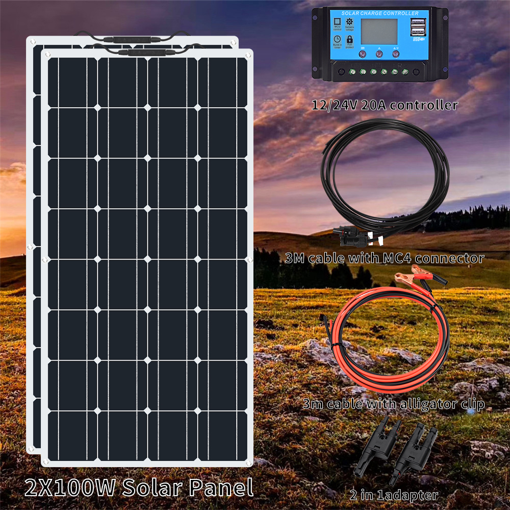 2pcs 100W Solar Panel Kit 12V 24V w// LCD Charge Controller RV Boat 200 Watt