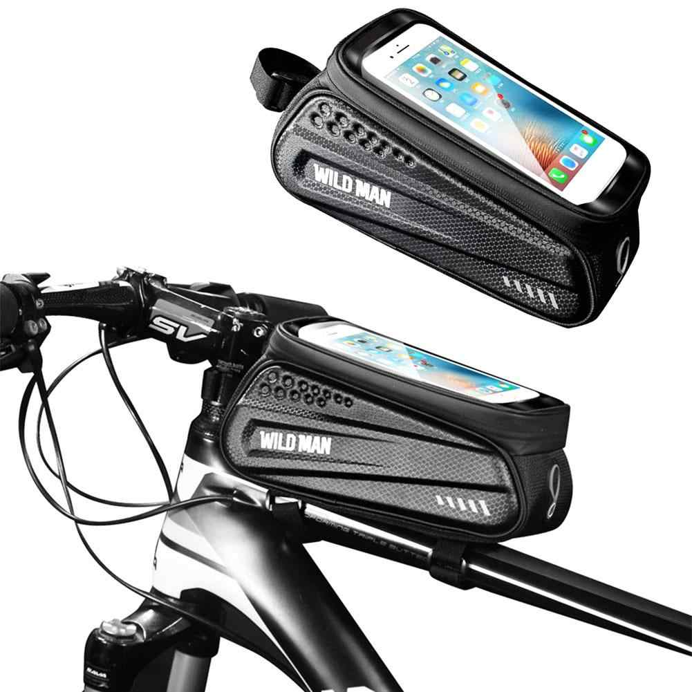 Bike Under Rear Seat Bag Rack Pouch Mountain Road Bicycle Pack Mount Phone Bags for Smartphone Bike Saddle Bag Waterproof Cycling Frame Pannier Cell Phone Bag