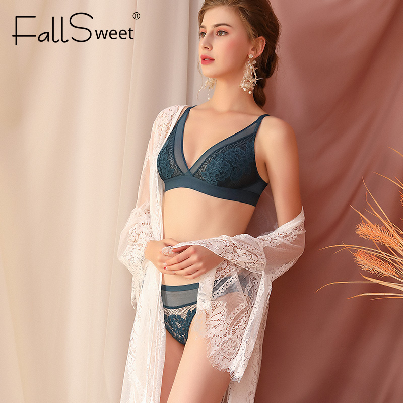 FallSweet Bra Set Women Lace Bralette Ultra Thin Transparent Lingerie Set Wireless Bras And Briefs Set
