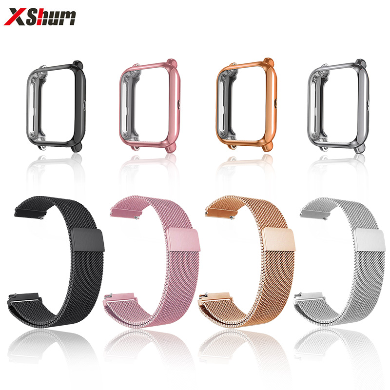 Strap For Amazfit Bip Strap Xiaomi Metal Bracelet With Case Huami Amazfit bip 20mm Band Protector For Smart watch Accessories-in Smart Accessories from Consumer Electronics