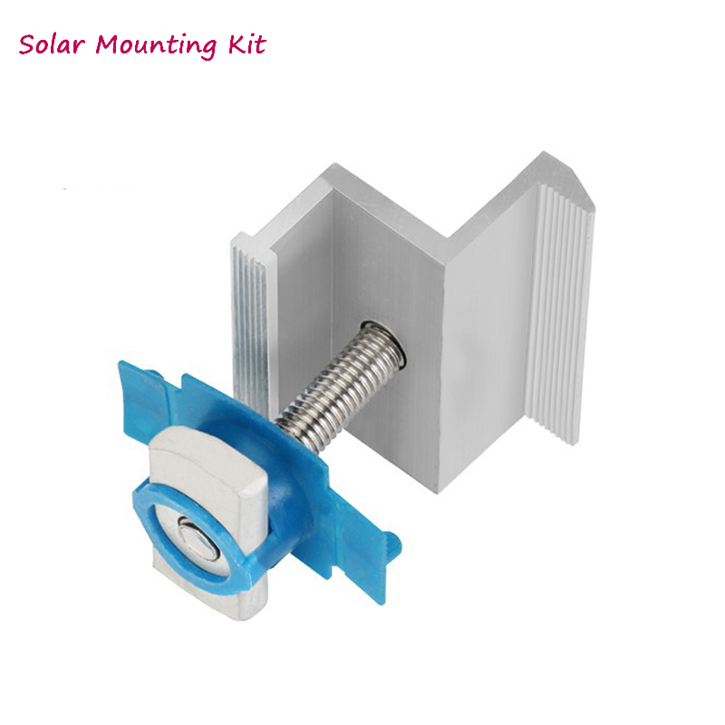 Solar Panel Mounting Bracket- Kit - Accessories Aluminum End Clamp Rails For Solar Panel Installtion On Off Grid Solar System