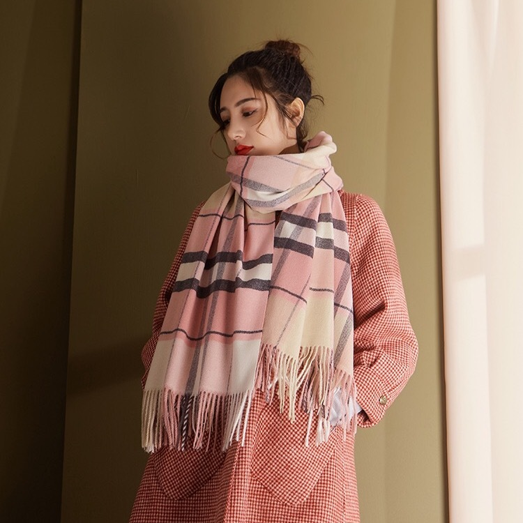 New Style Couples Scarf Autumn And Winter Faux Cashmere Plaid Shawl Cloak Tassels Double-Sided Warming Scarf A Generation Of Fat