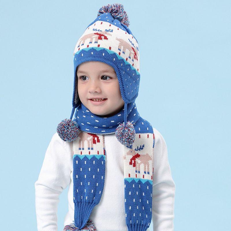Toddler Kids Winter Reindeer Jacquard Beanie Cap Scarf Pompom Earflap Cap Warmer 40JF