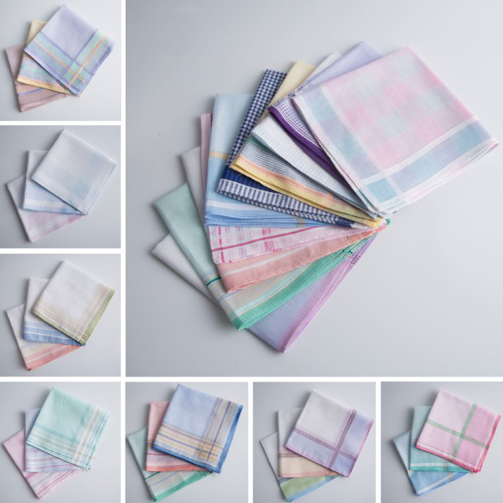 3Pcs Striped Plaid Handkerchief Cotton Printing Hanky Men's Business Pocket Square Towel 40*40CM Wedding Hankies